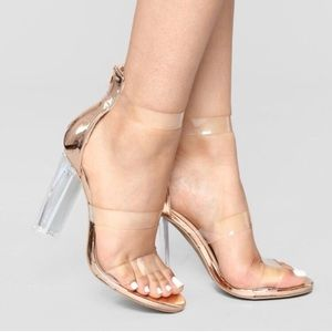 Forever 21 clear rose gold heels size 7.5